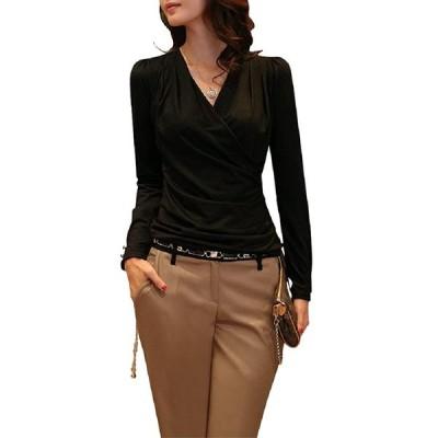 (ロンショップ)R.O.N shop 上品 Vネック カシュクール カットソー/長袖 ロングTシャツ 大きい おおきい サイズ (ブラック,