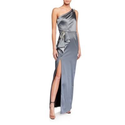 マルケサノット レディース ワンピース トップス One-Shoulder Stretch Satin Gown w/ Asymmetric Side Ruffle