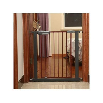 WHAIYAO Security Gate Pet Baby Protection Safety Infant Gate Balcony Railing Stairway Applications Auto-Close, Pressure Mounted (Color : Bla