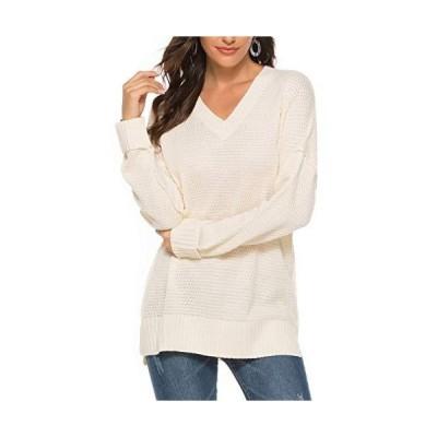 Women's Fall Winter Loose Long Sleeves V Neck Knitwear Sweater Pullover Blo