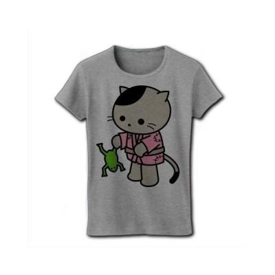 その日暮らしのネコ江さん リブクルーネックTシャツ(グレー)