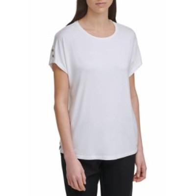 カルバンクライン レディース Tシャツ トップス Dolman Sleeve T-Shirt with Roll Tab Cuffs Soft White