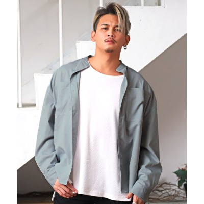 【ラグスタイル】 スタンドカラーBIGシャツ/長袖シャツ メンズ ビッグシルエット スタンドカラー 無地 メンズ ライト ブルー L LUXSTYLE