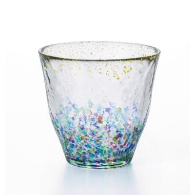 グラス おしゃれ ロックグラス 金箔 津軽びいどろ MATSURI まつり 金彩 ロックグラス ギフト 日本製 焼酎グラス オンザロック 水割り ウイスキー 夏 花