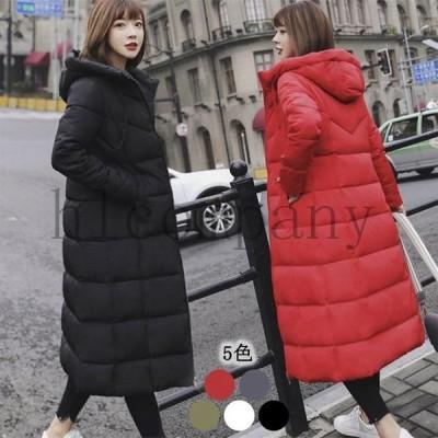 中綿コートロング丈コート軽量フード付きダウンコート暖かいレディース冬中綿入れジャケットダウンジャケット大きいサイズ長袖アウター