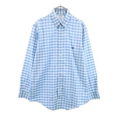 リージェント チェック 長袖 ボタンダウンシャツ M 薄青x白 REGENT BD メンズ 古着 210408 メール便可