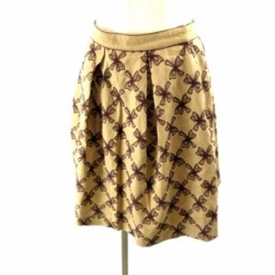 【中古】トッカ TOCCA フレアスカート 刺繍 総柄 ウール 茶 ブラウン ベージュ 2 M IBO3 レディース