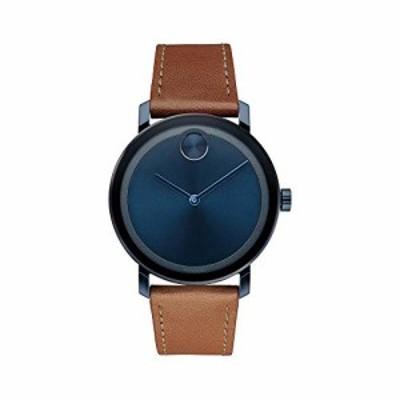 Movado太字ブルーダイヤルブラウンレザーメンズ腕時計3600520
