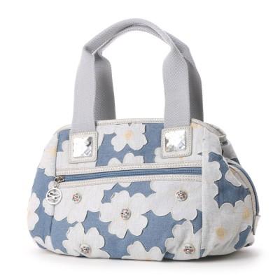 サボイ SAVOY デニム地に花柄を合わせたバッグ (ホワイト)