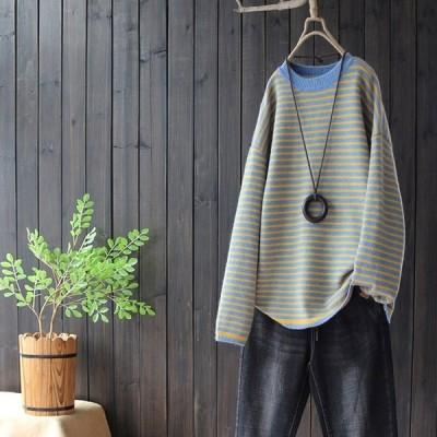 ニット 大きいサイズ 秋冬 丸首 長袖 セーター プルオーバー トップス レディースj62336
