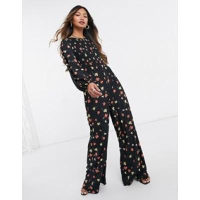 エイソス レディース ワンピース トップス ASOS DESIGN shirred long sleeve jumpsuit in fallen floral print Fallen floral