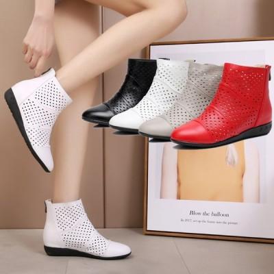 4色 サマーブーツ ブーツサンダル レディース 無地 透かし彫り 夏新作 美脚 ブーツ ヒール3cm ショートブーツ 女性 通気性 美脚/脚長 歩きやすい