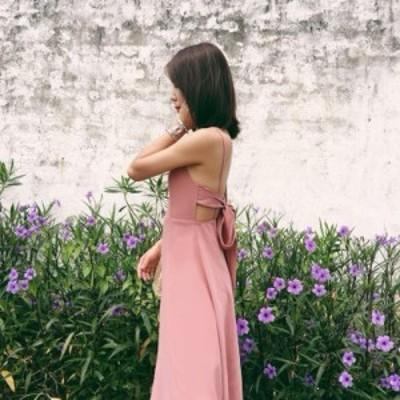 シフォン ドレス バックリボン 甘いピンクのワンピース リゾート ビーチスカート