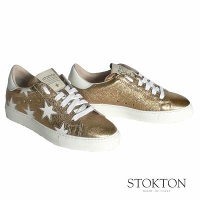 ストックトン STOKTON 星柄 レザースニーカー ホワイト×ゴールド 352D-oro-bianco