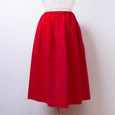 うなぎの寝床 久留米絣のスカート 無地 レッド 洋服