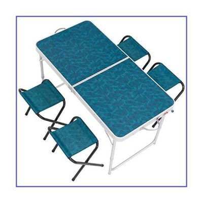HSTF Portable Folding Table Outdoor Table Camping Simple Suits and Four Chairs Suitable for 4-6 People