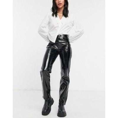 リバーアイランド レディース カジュアルパンツ ボトムス River Island vinyl faux leather straight leg pant in black Black