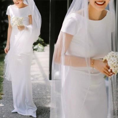 レディース 白 ウエディングドレス マーメイドドレス 丸襟 ドレス ロング丈 半袖 撮影 花嫁 Aライン 結婚式 披露宴 お洒落 ホワイト