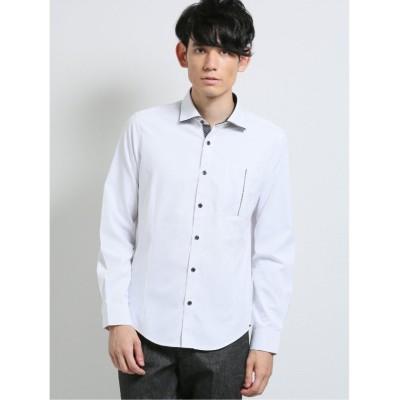 【タカキュー】 変形市松ドビー ワイドカラー長袖シャツ メンズ ホワイト M TAKA-Q