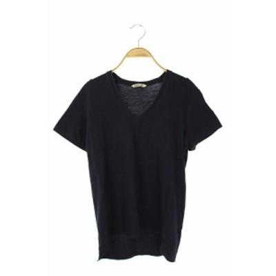 【中古】オーラリー AURALEE Vネック 半袖 カットソー Tシャツ 1 紺 /AA ■OS レディース