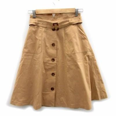 【中古】プロポーション ボディドレッシング スカート ボタンダウン風 フレア ミモレ丈 3 ブラウン 茶 レディース