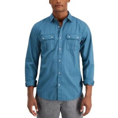 アイエヌシーインターナショナルコンセプト メンズ シャツ トップス INC Men's Seersucker Utility Shirt,  Dusty Teal
