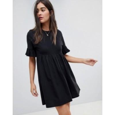 エイソス レディース ワンピース トップス ASOS DESIGN cotton slubby frill sleeve smock dress in black Black