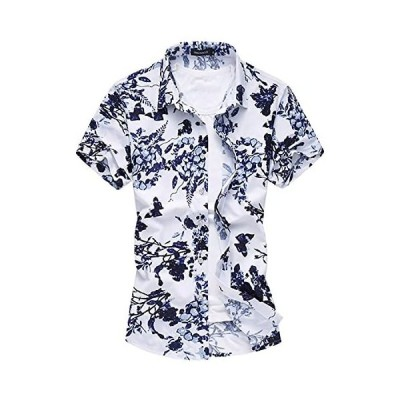 CEEN メンズ 春 夏 シャツ 花柄 半袖 フラワー おしゃれ アロハシャツ リゾート 気分 カジュアル さわやか 花 (01ブルー L)