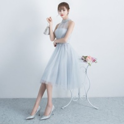 韓国 パーティードレス 結婚式 お呼ばれ ドレス パーティー ドレス フォーマル 結婚式 二次会 ワンピース シフォン 大きいサイズ フレア