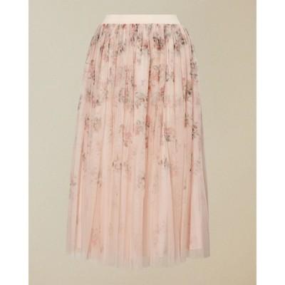 スカート SUKEE フラワープリント プリーツ スカート