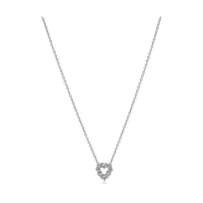 "Roberto Coin ""Tiny Treasures"" 18k White Diamond Open Heart Pendant Necklace (1/10cttw, G-H Color, SI1 Clarity)【並行輸入品】"