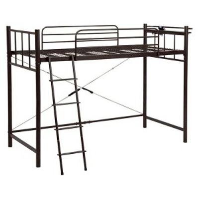 ロフトベッド 寝具 【ダークブラウン 高さ151.5cm シングル】 約幅97cm スチール 組立品 KH-3921DBR 【ハンガーポール別売】 メーカーよ