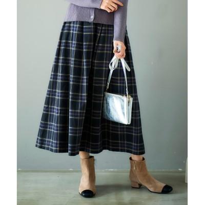【ルクールブラン/le.coeur blanc】 タックギャザーチェックロングスカート