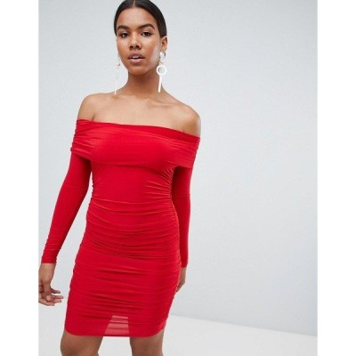 ミスガイデッド レディース ワンピース トップス Missguided red bardot slinky mini dress Red