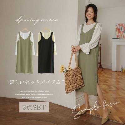 [韓国ファッション]ブラウス&VネックキャミワンピースSET