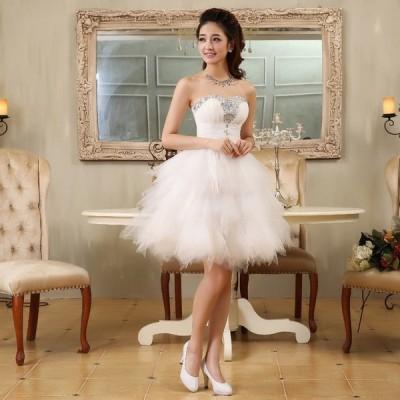 ウエディングドレス ミニドレス ウェディングドレス 結婚式 花嫁 二次会 2次会 披露宴 挙式 新婦 発表会 演奏会 白 ホワイト ミニ ショート ドレス 衣装