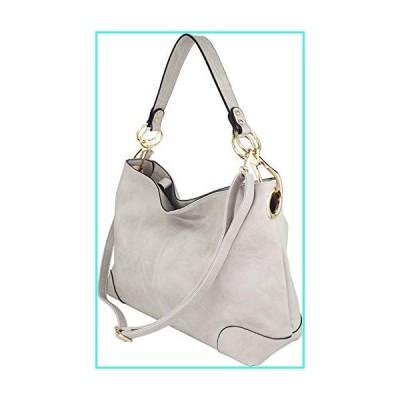【新品】B BRENTANO Large Hobo Shoulder Bag with Snap Hook Hardware (Gray)(並行輸入品)