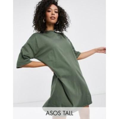 エイソス レディース ワンピース トップス ASOS DESIGN Tall t-shirt dress in khaki Khaki