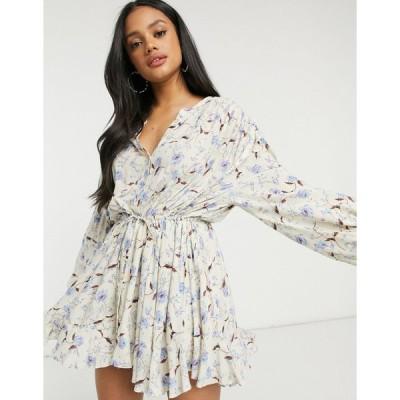 フリーピープル ミディドレス レディース Free People Flower Fields mini dress in cream mutli  エイソス ASOS sale