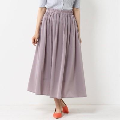 ウエストゴムで調節しやすい◎サテンギャザースカート ピンク M L