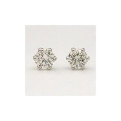 プラチナ(PT900)ダイヤモンド(SI2 K) total 0.32カラット 六本爪ピアス(シリコンキャッチ付)