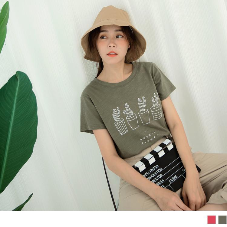 台灣製造.高含棉竹節棉趣味仙人掌印花T恤上衣