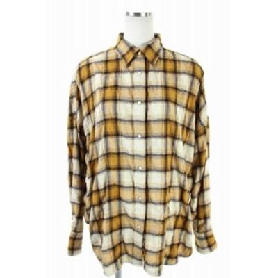 【中古】スピック&スパン Spick&Span 18AW チェックシャツ オーバーサイズ オレンジ アイボリー レディース
