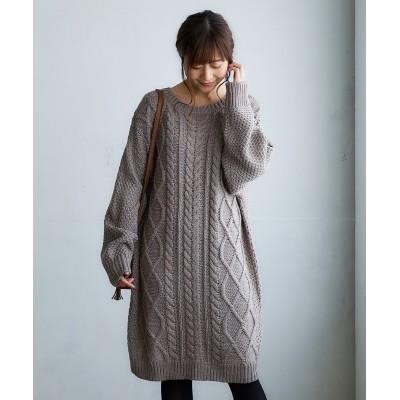 ケーブル編ニットワンピース (ワンピース)Dress