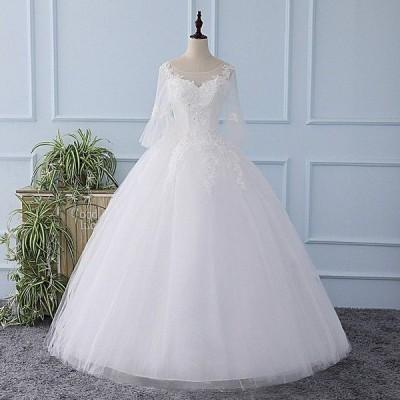 ウェディングドレス二次会ウエディングドレスベアトップ編み上げレース刺繍二次会ドレスロングドレス花嫁ドレストランペット結婚式ビスチェ七分袖