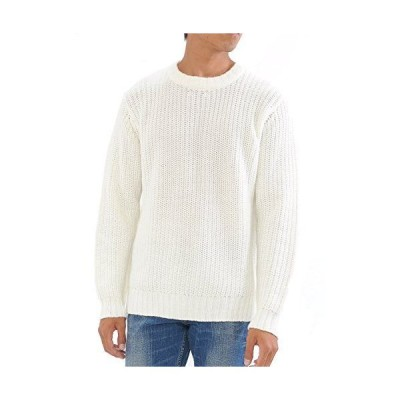 (スペイド) SPADE ニット メンズ ビッグサイズ オーバーサイズ セーター 畦編み クルーネック e602 (M, ホワイト)