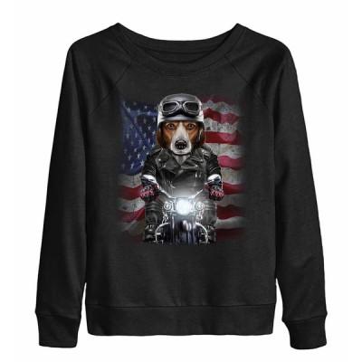 【ビーグル ドッグ 犬 いぬ バイク 星条旗 アメリカ】レディーススウェット(トレーナー) by Fox Republic