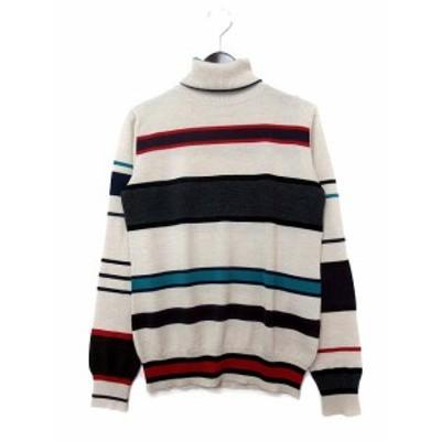 【中古】ラブモスキーノ LOVE MOSCHINO ニット セーター usa 4 グレージュ ウール 長袖 タートルネック ボーダー レディース