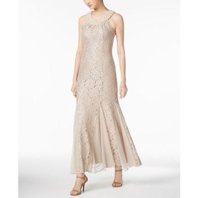 アールアンドエムリチャーズ レディース ワンピース トップス Embellished Lace Gown Champagne