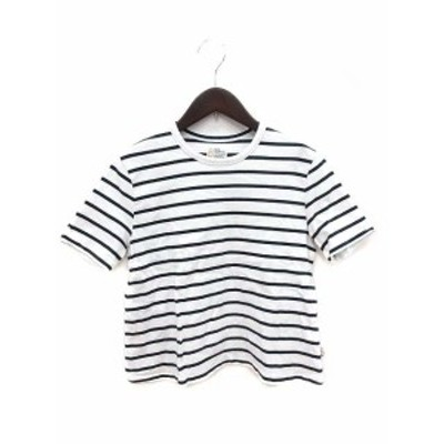 【中古】ベット&ブレックファスト カットソー Tシャツ クルーネック 半袖 ボーダー S 白 ホワイト /KB レディース
